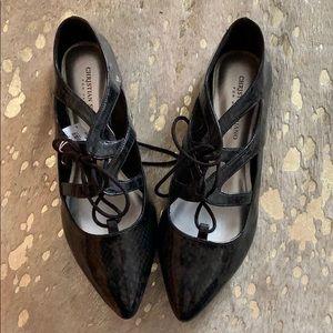 NWT • black tie up flats
